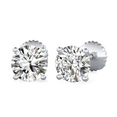 Four-Prong Stud Earrings with Round Cut Diamonds by 90210Jewelry.com ❤
