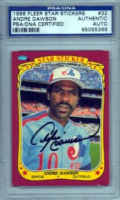 Andre Dawson Autographed 1986 Fleer Stickers Card PSA/DNA Slabbed #65055366 . $29.00. This is a 1986 Fleer Stickers card that is hand signed by Andre Dawson. The autograph has been authenticated and slabbed by PSA/DNA.