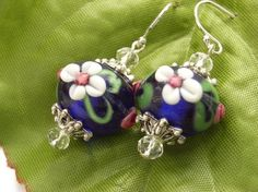 lampwork glass beads with  flowers | Earrings flower lampwork glass beads sterling s... - Folksy
