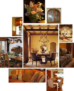 Tuscan style - characterized by a pronounced rustic, simplistic finishes with elegant iron accents, terra-cotta tiles and textured walls with murals, detailed and elegant (trompe l'oeil). Imagine a rural life style, as in a garden sunburnt (printed issue of colors used) color of olives, raisins, dates or Dijon, accented by rustic iron objects special.
