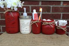 5 Piece Baseball Bathroom Set, Hand Painted Baseball Mason Jars, Baseball Bathroom Decor, Boys Bathroom, Sports, Father's Day, Man Cave