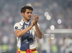 Real Madrid's forward Alvaro Morata celebrates the team's win at the Santiago Bernabeu stadium in Madrid on June 4, 2017 after winning the UEFA Champions League football match final Juventus vs Real Madrid CF held at the National Stadium of Wales in Cardiff on June 3, 2017.