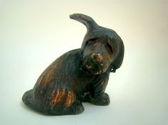 Vintage Dog Statuette Antique Puppy Figurine Retro Terrier Dog Miniature Metal Dog Statuette Vintage Home Decor