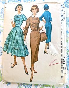 McCalls 4235  Vintage 1950s Womens Dress Pattern with by Fragolina, $26.00