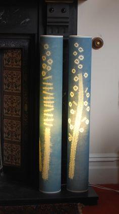 Shibori patterned indigo dyed lamps by Townhill Studio