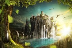 Fantasy Castle - leaves, beautiful, waterfalls, trees, fantasy, castle, birds