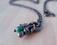 Malaquite Sterling Silver Necklace. Rustic Oxidized by aroluna, $45.00
