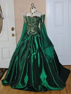 green and gold Victorian ball gown - Google Search