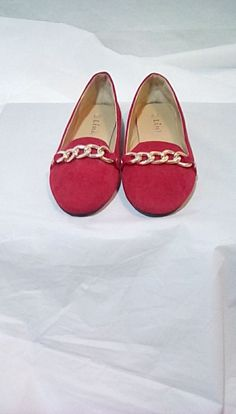 45e68feb4fd Link-Girls Red Suede Dressy Slip On Flats with Silver Cuban Link Chain-  Size 12
