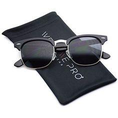 b0710fd20a90 Polarized Clubmaster Classic Half Frame Semi-Rimless Rimmed Sunglasses