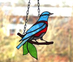 Bird  Western Bluebird  Suncather  Stained Glass by recircles9, $59.00