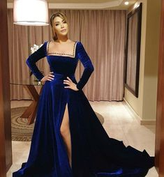 Nawal ElZoghby in royal blue dress designed by George Hobeika 🌹.. dress is made from Velvet 👍