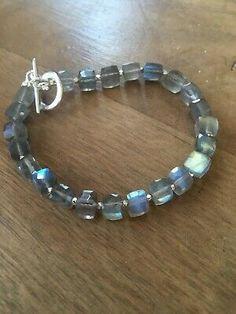 LABRADORITE Gemstone Bracelet | eBay Cultured Pearl Necklace, Necklace Box, Silver Rounds, Sterling Silver Bracelets, Labradorite, Gemstone Jewelry, Gemstones, Ebay, Gems