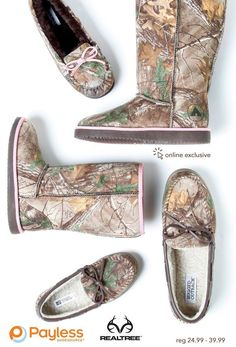Cozy up in Camo. Realtree Camo Payless shoes. Sale prices through Oct. 29, 2014: Boot: $36.99, Moc: $20.99  #Realtreecamo