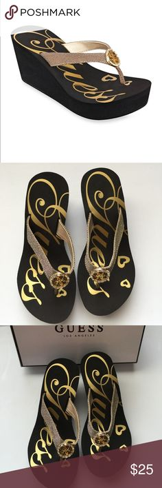 Guess Women's Size 5M gold wedge sandals NIB 3 in high Sandals Guess Shoes Sandals