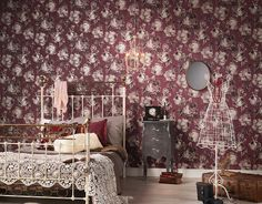 """The vintage look of the alluring """"Bohemian Burlesque"""" wallpaper collection brings back the flair of classic and stylish wall décor. Plain Wallpaper, Stone Wallpaper, Damask Wallpaper, Modern Wallpaper, Textured Wallpaper, Designer Wallpaper, Beautiful Wallpaper, Animal Print Wallpaper, Bohemian Bedroom Decor"""