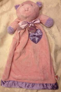 LOVEY Vintage Dakin Pink Pig Purple Heart Satin Fleece Baby Security Blanket Vtg #Dakin