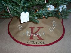 personalized burlap Christmas tree skirt by FromOldStuff on Etsy, $48.00