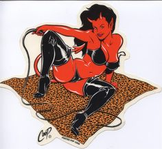"Coop Wild Devil Girl Sticker Large Size = Approximately 4 to 6"" New Old Stock! Almost Sold Out! Retail Only! Peel and Stick. Die Cut Clear Mylar UV Ink Printed,"