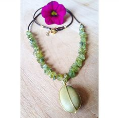 20 Natural Stone Wire Wrap Necklace with Peridot by UrbanGypsyGems