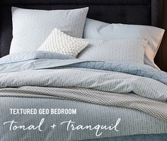 Textured Geo Bedroom - tonal + tranquil -- the geometric options are kind of interesting