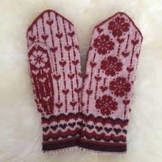 Falling Love by JennyPenny Sweden AB Knitted Mittens Pattern, Baby Booties Knitting Pattern, Knitting Wool, Fair Isle Knitting, Knit Mittens, Knitting Charts, Knitting Socks, Knitting Patterns, Crochet Patterns