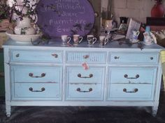 Beautiful Robin's Egg Blue Antique Shabby Chic Vintage Dresser