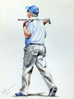 Freddie Couples by Mark Robinson Golf Art - Paintings of famous golf stars by mark robinson, golf artist - robinson golf art