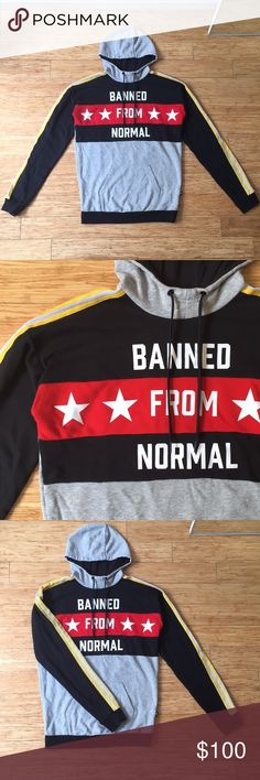 """Adidas x Rita Ora oversized hoodie size small Adidas x Rita Ora """"Banned from normal"""" oversized hoodie. Heather gray, black, and red body with yellow and white striped on arms. Tiger adidas logo on back. Fits long and oversized. Size small. adidas Tops Sweatshirts & Hoodies"""