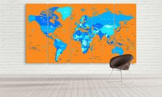 Large Political World Map Unique Canvas Wall by CanvasFactoryCo Large World Map Canvas, Wall Canvas, Handmade Gifts, Artwork, Unique, Painting, Vintage, Etsy, Kid Craft Gifts