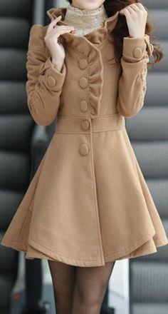 Long Sleeve single breasted Khaki Wool Long Coat