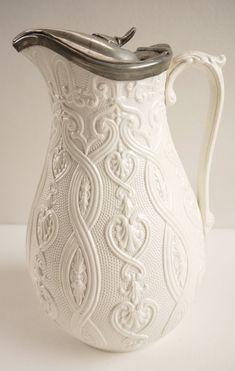 victorian pitchers | Victorian Salt Glaze Pitcher Creamware Jug Relief Mould Antique