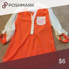 Orange and white shirt 3/4 sleeve buttons, xs Very cute. Bought from another posher. Never worn by me Tops Blouses