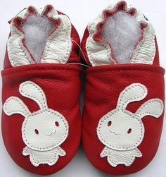 Chaussons souples Carozoo Lapin fond rouge