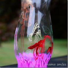 Teacher gift idea: let your child hand paint a dollar store vase with Martha Stewart Glass Paints! #marthaglass