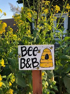 Bee B & B Garden Sign, Save The Bees Wooden Sign, Bee Sign, Honeybee Pollinator Art Honey Sign Beekeeper Gift Organic Gardner Gift Flowers Garden Shop, Garden Art, Garden Ideas, Garden Design, Gardner Gifts, Decorative Garden Stakes, Plant Markers, Garden In The Woods, Save The Bees