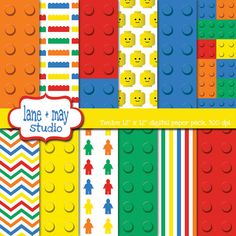 lego themed digital scrapbook papers by lane + may studio on Etsy, $7.50