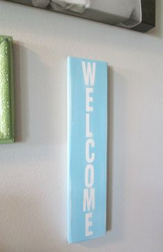 WeLCOMe SiGN... aqua and white...by Wreckd on Etsy ... by Wreckd, $20.00