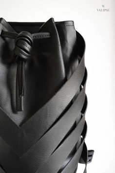 Front detail shot of the black vegan leather bag Vegan Leather, Leather Bag, Convertible Backpack, Unique Bags, Cruelty Free, Bucket Bag, Streetwear, Backpacks, Detail