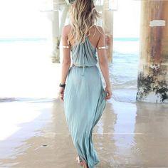 Sexy Hollow Out rückenfrei bodenlang Strandkleid Sommerkleid Abendkleid