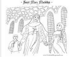 Saint Mary Mackillop Catholic coloring page. (St. Mary of the Cross) Feast day is August 8th.  Canonized by Pope Benedict XVI, she is Australia's first saint :)