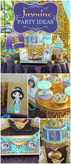 A stunning Princess Jasmine girl birthday party in purple, gold and blue with amazing food and decorations! See more party planning ideas at CatchMyParty.com!