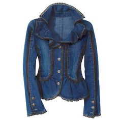 $59.95   #PlusSize  A different take on the classic denim jacket. Sexy and Romantic. Love the ruffled neckline, the structure, and the lace detail. Plus Size.