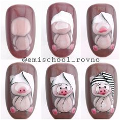 Pig nail art is in a high demand now. See the cutest nail designs with this year`s symbol! Pig Nail Art, Pig Nails, Animal Nail Art, Xmas Nails, New Year's Nails, Valentine Nails, Halloween Nails, Cartoon Nail Designs, Nail Art Designs
