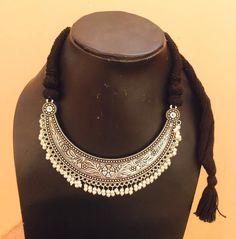 Shop Ethnic German Silver Oxidized Black Thread Necklace by Culturelink online…