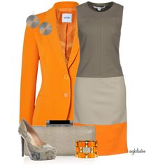 A fashion look from March 2013 featuring diane von furstenberg dress, orange jacket and high heel shoes. Browse and shop related looks. Work Fashion, Fashion Outfits, Womens Fashion, Mode Collage, Beautiful Outfits, Cute Outfits, Work Outfits, Winter Typ, Work Chic