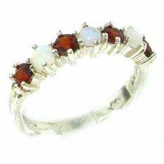 N R O M 1ct Orissa Rose Garnet Ring in 925 Sterling Silver UK Sizes L S /& T