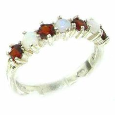 High Quality Solid Sterling Silver Natural Fiery Opal & Garnet Eternity Ring - Finger Sizes 5 to 12 Available LetsBuySilver. $103.00
