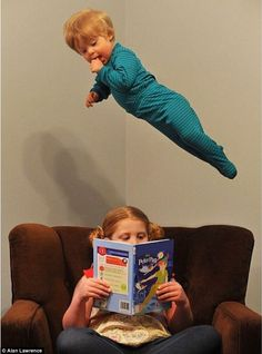 Photographer turns son into superhero via MailOnline, and I love this one the most b/c it's bookish.  : )