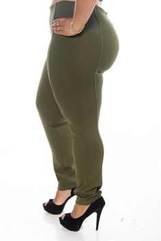 c7885abb414 Emphasis on Essentials Elastic Panel Plus Size Pants - Olive from Active  USA Basics at Lucky